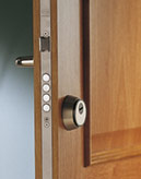 Three-point key lock for security door